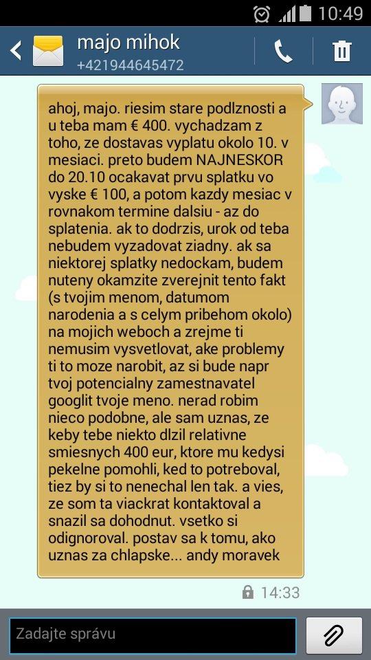 "Marián Mihok (""Majo Mahony"") ako neseriózny dlžník"