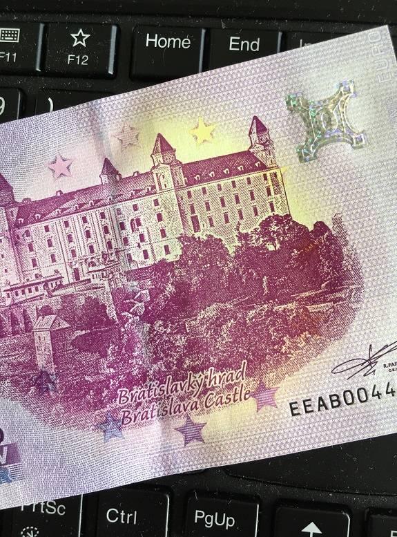 """Nulové euro s chybou tlače: """"Bratislavký hrad"""""""