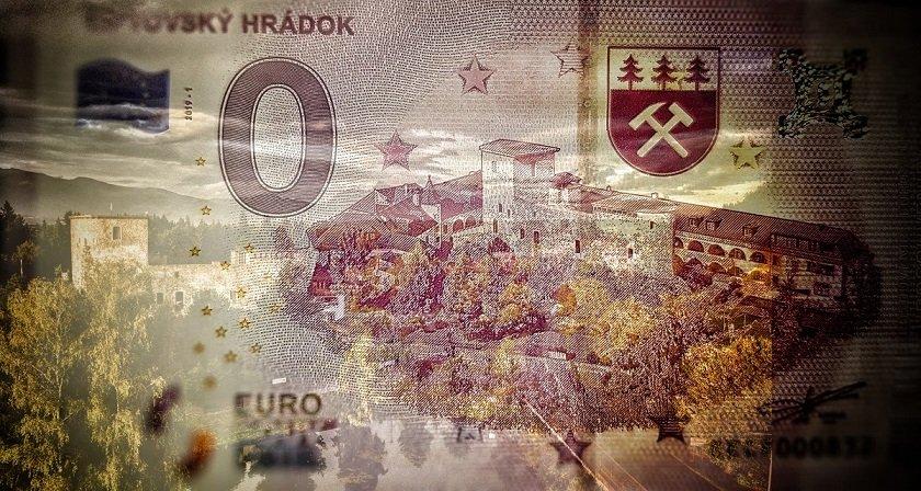 Koncept nulového eura, nulová eurobankovka, slovenské 0€