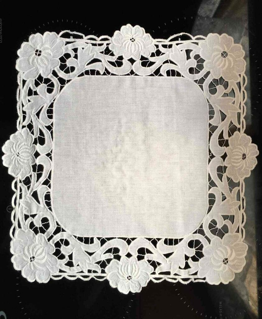 Original Slovak home made Richelieu embroidery/needlework